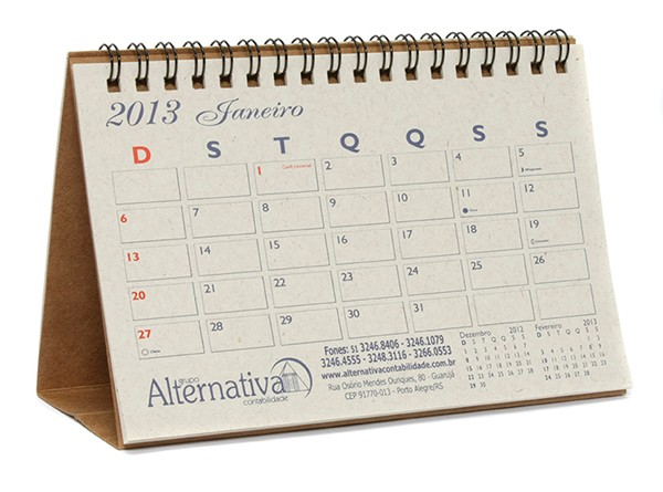 Calend rio de mesa espiral personalizado - Calendario de mesa ...